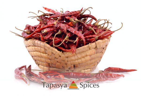 Kashmiri Mirch - Sabut Whole Red Kashmiri Chillies in a basket